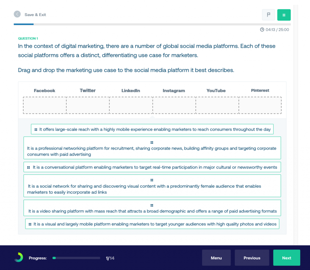 Digital marketing diagnostic test